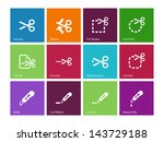 scissors with cut icons for...