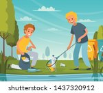 nature cleanup flat composition ... | Shutterstock .eps vector #1437320912