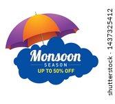 happy monsoon season logo unit  ...   Shutterstock .eps vector #1437325412