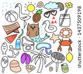 hand drawn set of summer  | Shutterstock .eps vector #1437509198