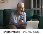 Happy Excited Old Elderly Man...