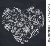 heart floral design with chalk... | Shutterstock .eps vector #1437614048