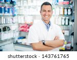cheerful smiling pharmacist... | Shutterstock . vector #143761765