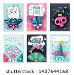 carnival cards banners set on...   Shutterstock .eps vector #1437644168