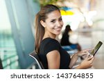 young female passenger at the... | Shutterstock . vector #143764855