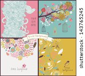 set of four floral backgrounds... | Shutterstock .eps vector #143765245