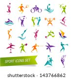 colorful sports icon set vector ... | Shutterstock .eps vector #143766862