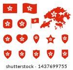 hong kong flag icons set ... | Shutterstock .eps vector #1437699755