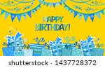 happy birthday banner. greeting ... | Shutterstock .eps vector #1437728372