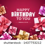 happy birthday vector greeting... | Shutterstock .eps vector #1437753212
