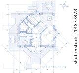 house plan  vector blueprint | Shutterstock .eps vector #14377873