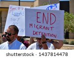 Small photo of Clint, Texas / USA - 29 June 2019 People demonstrating against children being held in the Clint, Texas Border Patrol facility. Conditions there have been described as squalid, inhumane and abusive.