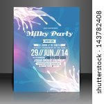 vector milky party flyer ... | Shutterstock .eps vector #143782408