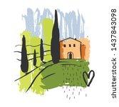 Hand Drawn Landscape Of Tuscany....