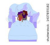 black lesbian couple is laying... | Shutterstock .eps vector #1437855182