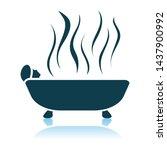 woman lying in bathtub icon.... | Shutterstock .eps vector #1437900992