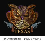 embroidery owl sheriff and guns.... | Shutterstock .eps vector #1437974348