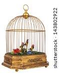 Vintage Golden Birdcage With...