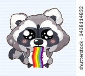 cute raccoon kawaii cartoon... | Shutterstock .eps vector #1438114832