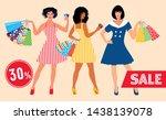 sale layout. beautiful girls in ...   Shutterstock .eps vector #1438139078