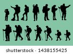 silhouettes of travelers with... | Shutterstock .eps vector #1438155425
