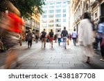 motion blurred crowds of... | Shutterstock . vector #1438187708