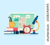online education concept. flat... | Shutterstock . vector #1438190495