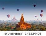 temples in bagan  myanmar ... | Shutterstock . vector #143824405