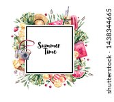 summer watercolor frame with...   Shutterstock . vector #1438344665