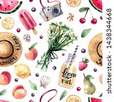 watercolor seamless summer...   Shutterstock . vector #1438344668