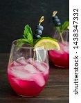 sparkling blueberry lemonade...   Shutterstock . vector #1438347332
