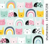 childish seamless pattern with... | Shutterstock .eps vector #1438367258