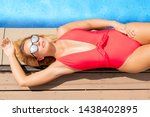 young relaxed blonde woman...   Shutterstock . vector #1438402895