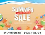 summer sale with decoration... | Shutterstock .eps vector #1438448795