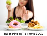 young girl on dieting for good... | Shutterstock . vector #1438461302