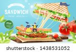 stringy cheese chicken sandwich ... | Shutterstock .eps vector #1438531052