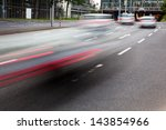 city traffic in motion blur - stock photo