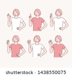 five female hands raise up  in...   Shutterstock .eps vector #1438550075