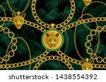 gold chains and pendants with ... | Shutterstock .eps vector #1438554392