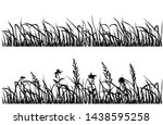 silhouette flowers and grass ... | Shutterstock .eps vector #1438595258