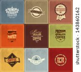 set of vintage retro coffee... | Shutterstock .eps vector #143860162