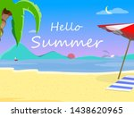 beach background with hello... | Shutterstock .eps vector #1438620965
