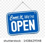 blue sign come in we are open ... | Shutterstock .eps vector #1438629548