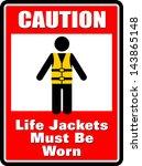 Caution  Life Jackets Sticker