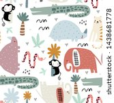 seamless childish pattern with... | Shutterstock .eps vector #1438681778