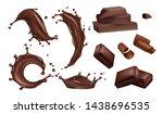 realistic chocolate splashes ...   Shutterstock .eps vector #1438696535