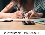 hands writing close up.working... | Shutterstock . vector #1438705712