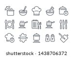 cooking related line icon set....