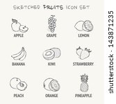 sketched fruits icon set | Shutterstock .eps vector #143871235