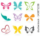 Stock vector vector group of butterflies on white background 143871238